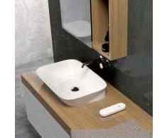 Lavabo da appoggio o da incasso in ceramica 50x40 cm azzurra ceramica serie Prua   Bianco lucido