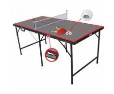 Tavolo Da Per Gioco Ping Pong Pieghevole Con Rete Palline Racchette 154x77x68 CM