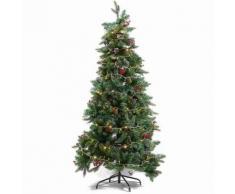 Albero di Natale pino artificiale con bacche e luci 2,10 metri