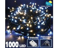 Catena Luminosa 1000 Luci LED Albero Natale Lucciole Bianco Freddo e Caldo Ester