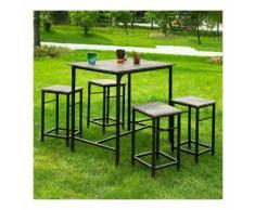 SoBuy Set 5 pezzi Tavolo con 4 sgabelli, Set di mobili da balcone,OGT11-N