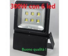 FARO FARETTO LED 300W DA ESTERNO ALTA DISSIPAZIONE WATERPROOF CON 6 LED