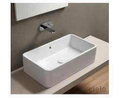 Lavabo da appoggio con troppo pieno rettangolare 75cm bianco Art.SHLAA7520 Shui Cielo Ceramica