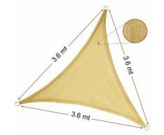 Vela Parasole Ombreggiante Triangolare 3.6x3.6x3.6 mt Beige Sabbia
