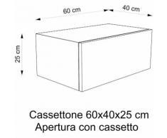 Cassettone Arredo bagno | Bianco Frassinato - 60x40x25 cm - Maniglia con rallentante
