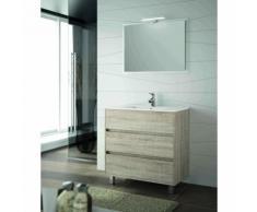 Mobile bagno 800 in legno marrone Caledonia con lavabo Arenys | Con specchio e lampada LED