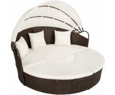 divano prendisole in alluminio e rattan marrone/nero