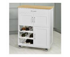 SoBuy Carrello di servizio, Credenza in legno, mobile cucina, bianco, FKW45-WN