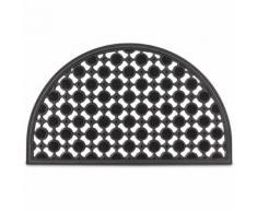 Tappetino in gomma per ingresso, forma semi circolare, colore nero, resistente agli agenti