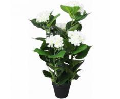 Ortensia Pianta Artificiale con Vaso 60 cm Bianca