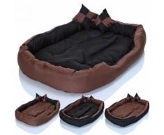 Cuccia cuccetta letto lettino per cani gatti animali 2 cuscini nero-marrone misura 85x70 nero