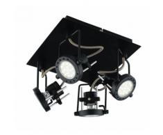 Plafoniera faretti lampade spot in metallo techno con finitura nero satinato 4xgu10 6w led