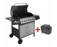 Barbecue e Griglia a Gas 6+1 Fornelli Nero e Argento