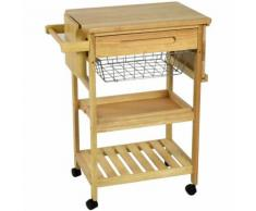 Carrello da cucina in legno con due piani un cestello e un cassetto