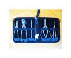 Set da 5 attrezzi per bonsai in acciaio inox + astuccio porta utensili rigido (A)