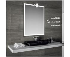 Iced - specchio reversibile da bagno con cornice sabbiata 60x80 cm con lampada alogena 25w