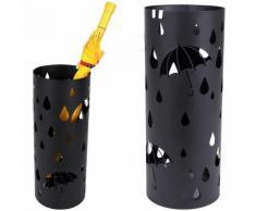 Portaombrelli in Ferro Design BAKAJI5B Rotondo Stand Nero Vaschetta Salvagoccia