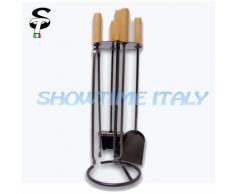 Servitore Camino Caminetto accessori 4pz Legno H71
