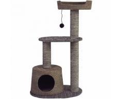 Tiragraffi medio a due colonne modello Elegante con cuccia e gioco pendente a pa