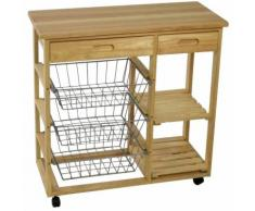 Carrello da cucina in legno con tre cestelli due piani e due cassetti