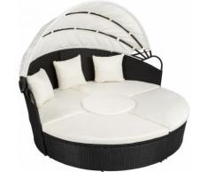 divano prendisole in alluminio e rattan nero