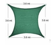 Vela Parasole Ombreggiante Quadrata 3.6x3.6 mt Verde