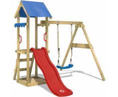 WICKEY Parco giochi TinyWave Gioco da giardino per bambini con altalena, scivolo, sabbiera, tetto
