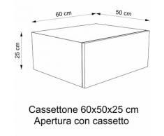 Cassettone Arredo bagno | 60x50x25 cm - Rovere Vintage - Maniglia con rallentante