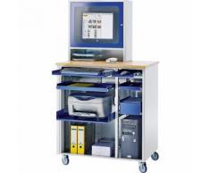 Stazione di lavoro per PC ,alt. x largh. x prof. 1820 x 1030 x 660 mm con vano per monitor, mobile RAU