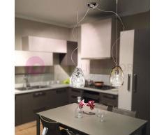 Due P Illuminazione Kiara Lampada A Sospensione A 2 Luci In Vetro Soffiato Design Moderno D. 20 Cm