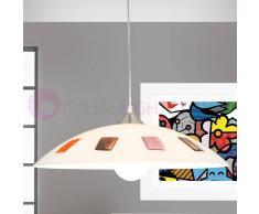 Lam Export Pennelli Lampada Sospensione Vetro Decorato Design Moderno