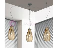 Due P Illuminazione Giada Lampada A Sospensione A 3 Luci In Vetro Soffiato Design Moderno D. 16 Cm