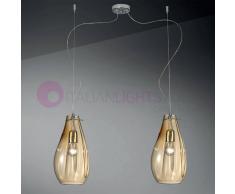 Due P Illuminazione Giada Lampada A Sospensione A 2 Luci In Vetro Soffiato Design Moderno D. 16 Cm