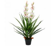 vidaXL Orchidea Cymbidium Artificiale con Vaso 100 cm Verde