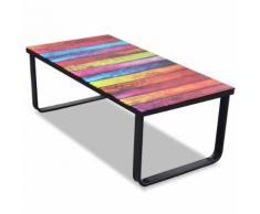 vidaXL Tavolino da Caffè con Stampa su Vetro Arcobaleno