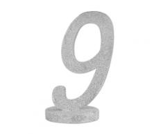 Centrotavola in legno color argento numero 9