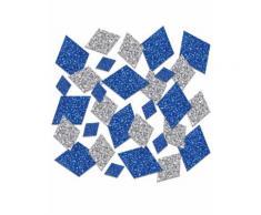 Coriandoli da tavola blu e argento con brillantini