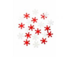 Coriandoli da tavola fiocchi di neve bianchi e rossi