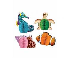 4 mini centrotavola di carta animali marini