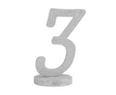 Centrotavola in legno color argento numero 3