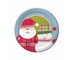 8 grandi piatti di cartone Babbo Natale 26 cm