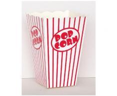 10 Scatole da popcorn a righe bianche e rosse