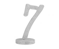 Centrotavola in legno color argento numero 7