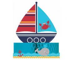 Centro tavola con barca nel mare