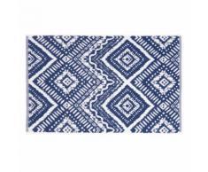 Tappeto da bagno in cotone blu a motivi grafici, 50x80