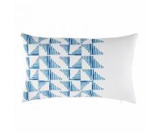 Cuscino da esterno bianco a motivi grafici blu, 30x50