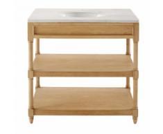 Mobile con lavandino in legno massello di quercia e marmo bianco Charline