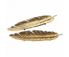 2 svuotatasche piuma in metallo dorato FLORILEGE