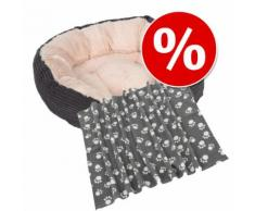 Set Letto Cozy Velluto + Coperta in pile Pawty - L 63 x P 53 x H 15 cm + Pawty