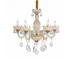 Lampadario da soffitto Cristallo dorato e gocce Trasparenti 5 Bracci 2072-5